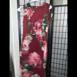 Calvin Klein Maroon Dress with Flowers